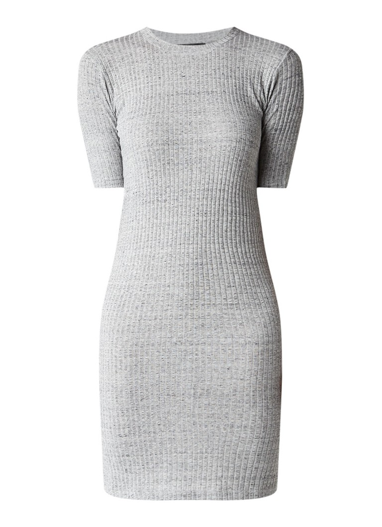 Storm & Marie Selina midi-jurk van ribjersey grijsmele