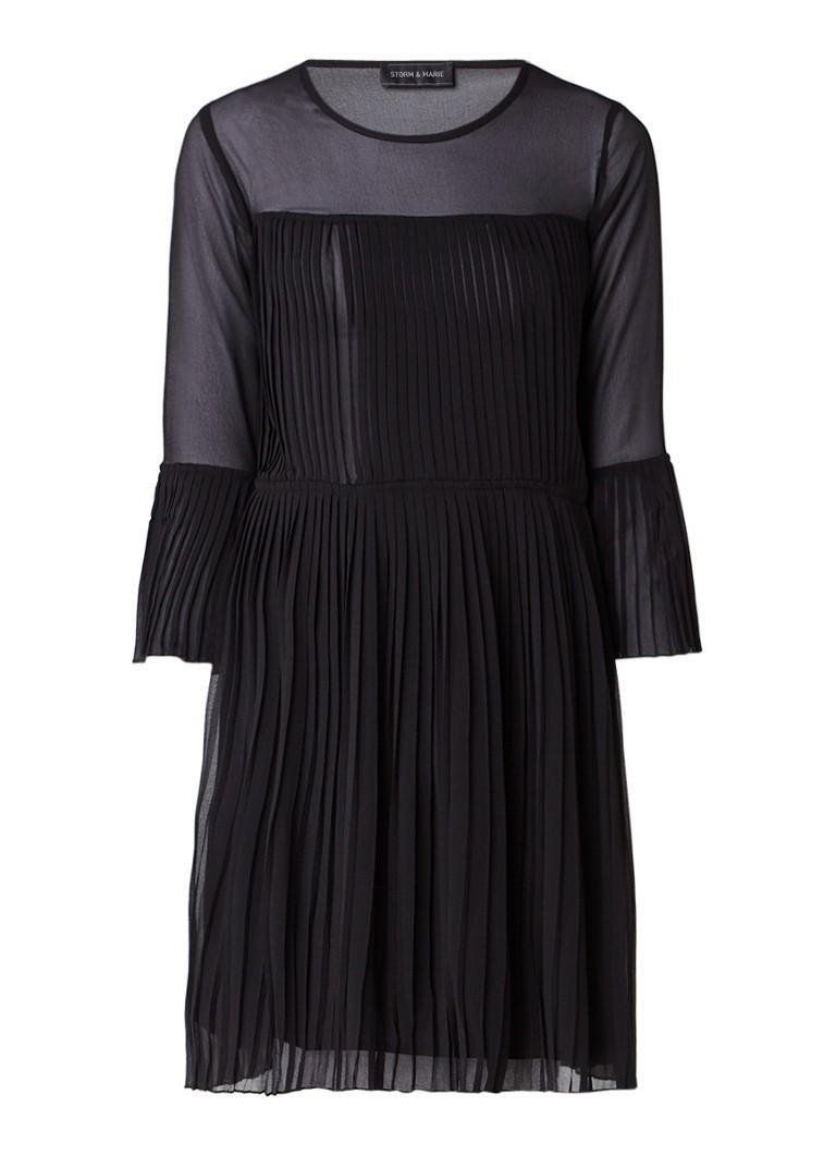 Storm & Marie Palm semi-transparante midi-jurk met plissé zwart