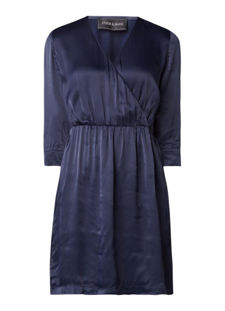 Storm & Marie Wax A-lijn midi-jurk met overslag donkerblauw