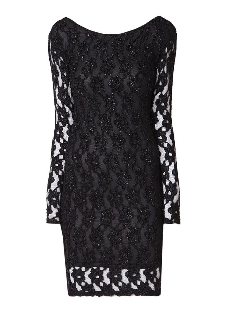 Storm & Marie Cadence midi-jurk van kant met lurex zwart