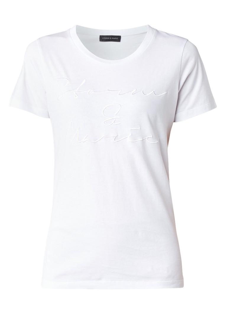 Storm & Marie T-shirt met geborduurde tekst blauw