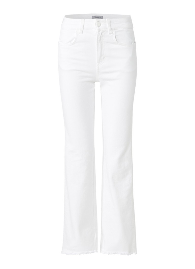 Filippa K Lily high rise flared fit cropped jeans met franjes