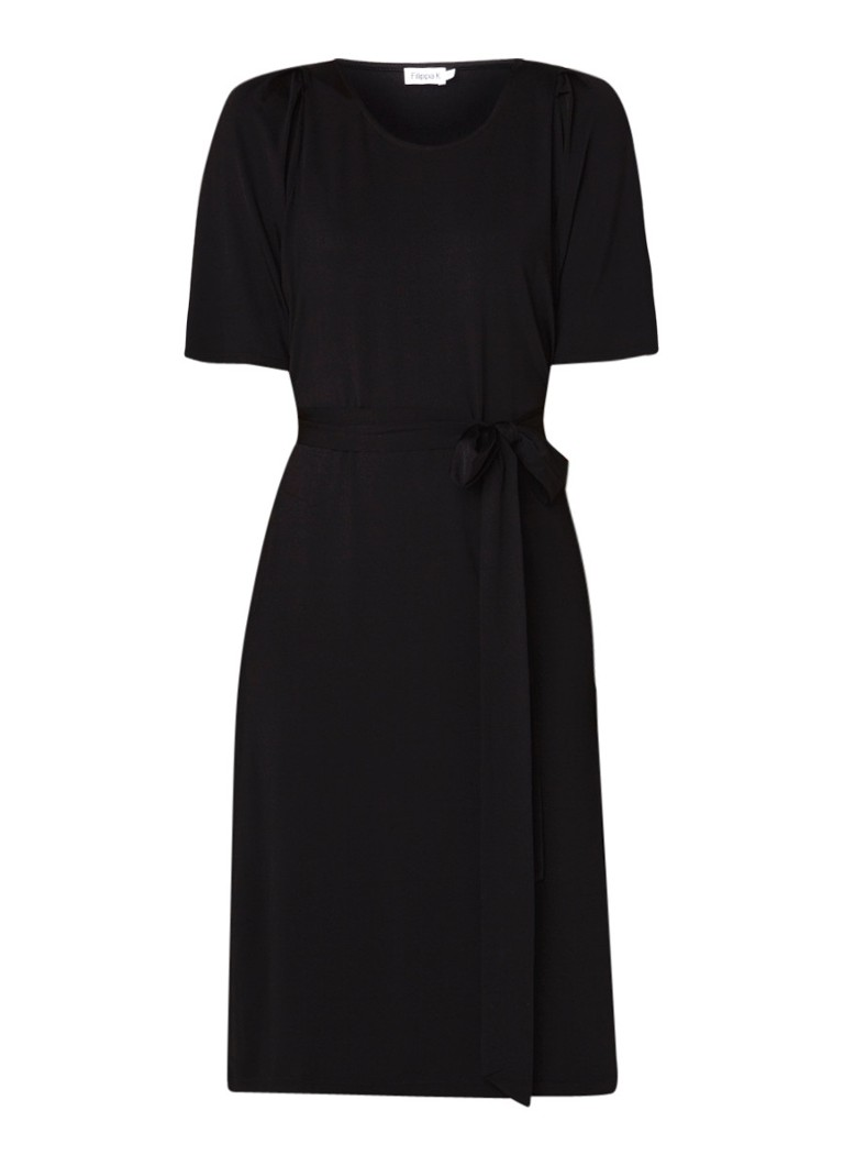 Filippa K Jersey midi-jurk met strikceintuur zwart