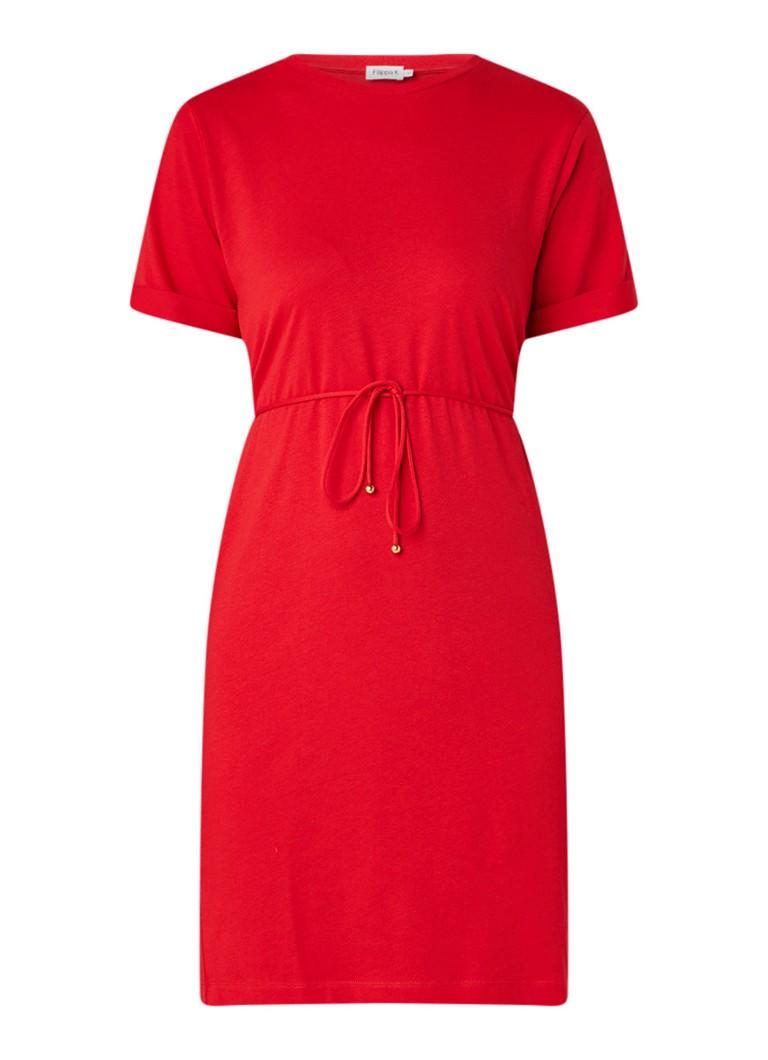 Filippa K T-shirt jurk van jersey met taillekoord rood
