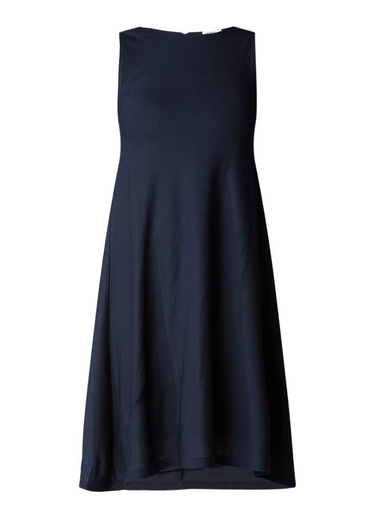 Filippa K Lael mouwloze midi-jurk met structuur donkerblauw
