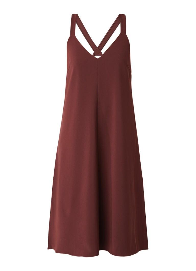 Filippa K Ami Slip midi-jurk met splits kastanjebruin