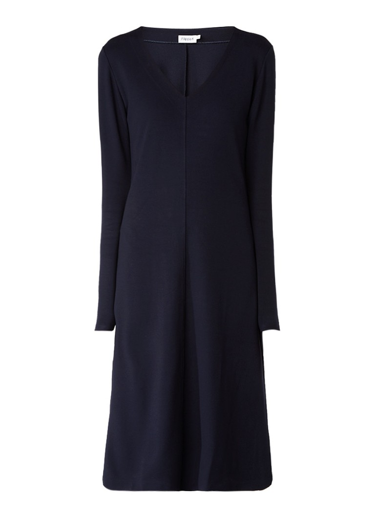 Filippa K Midi-jurk met V-hals en deelnaad donkerblauw
