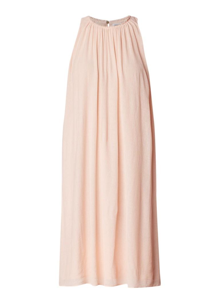 Filippa K Mouwloze jurk met plooien en keyhole zalmroze