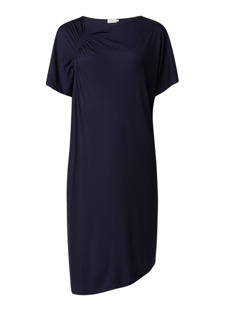 Filippa K T-shirt jurk met gesmockt detail donkerblauw