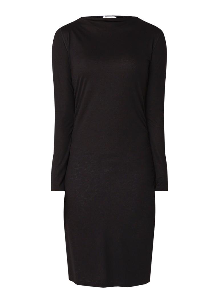 Filippa K Midi-jurk in wolblend met plooidetail zwart