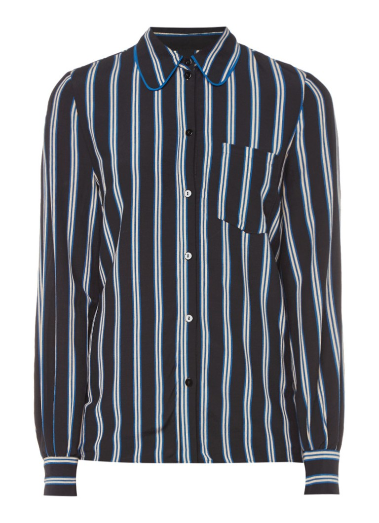 Baum und Pferdgarten Mindel blouse met streepdessin en borstzak bruin