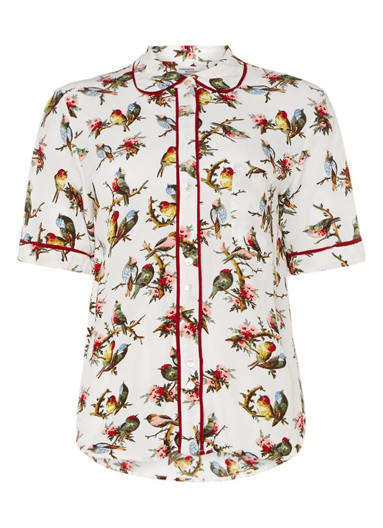 Baum und Pferdgarten Mattea blouse met vogelprint en pyjamalook bruin