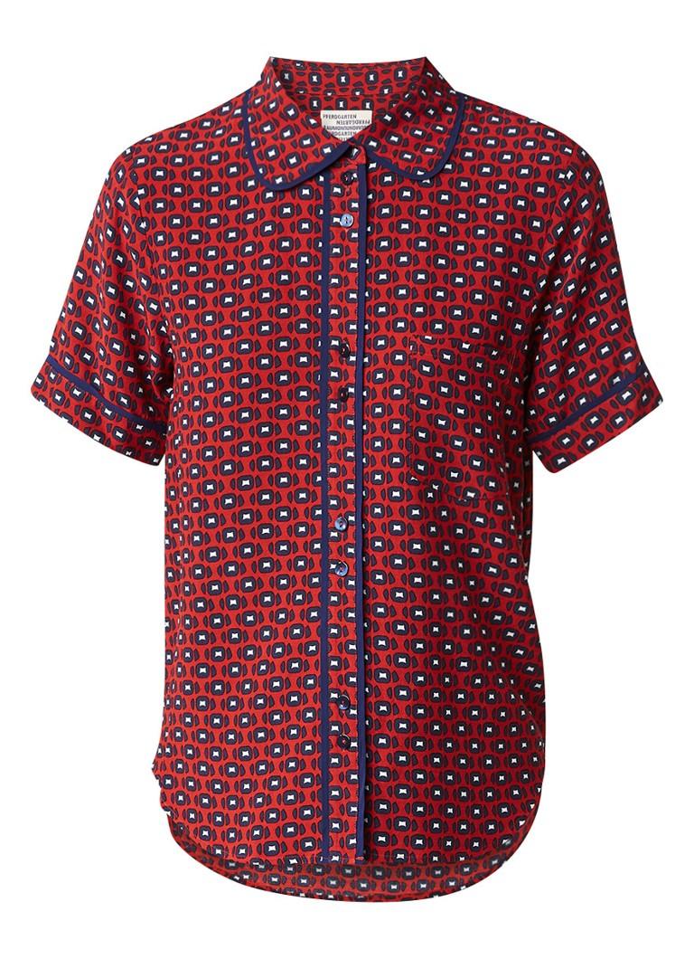 Baum und Pferdgarten Mattea blouse met grafisch dessin en pyjamalook bruin