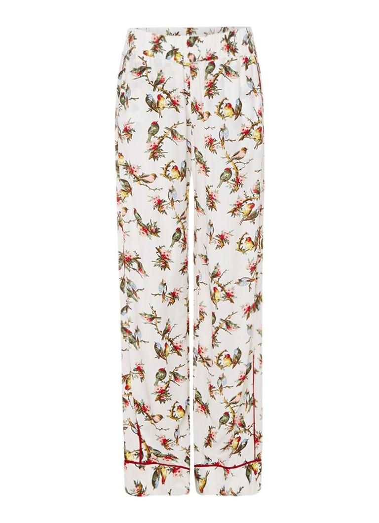 Baum und Pferdgarten Nicki loose fit broek met vogelprint en pyjamalook bruin
