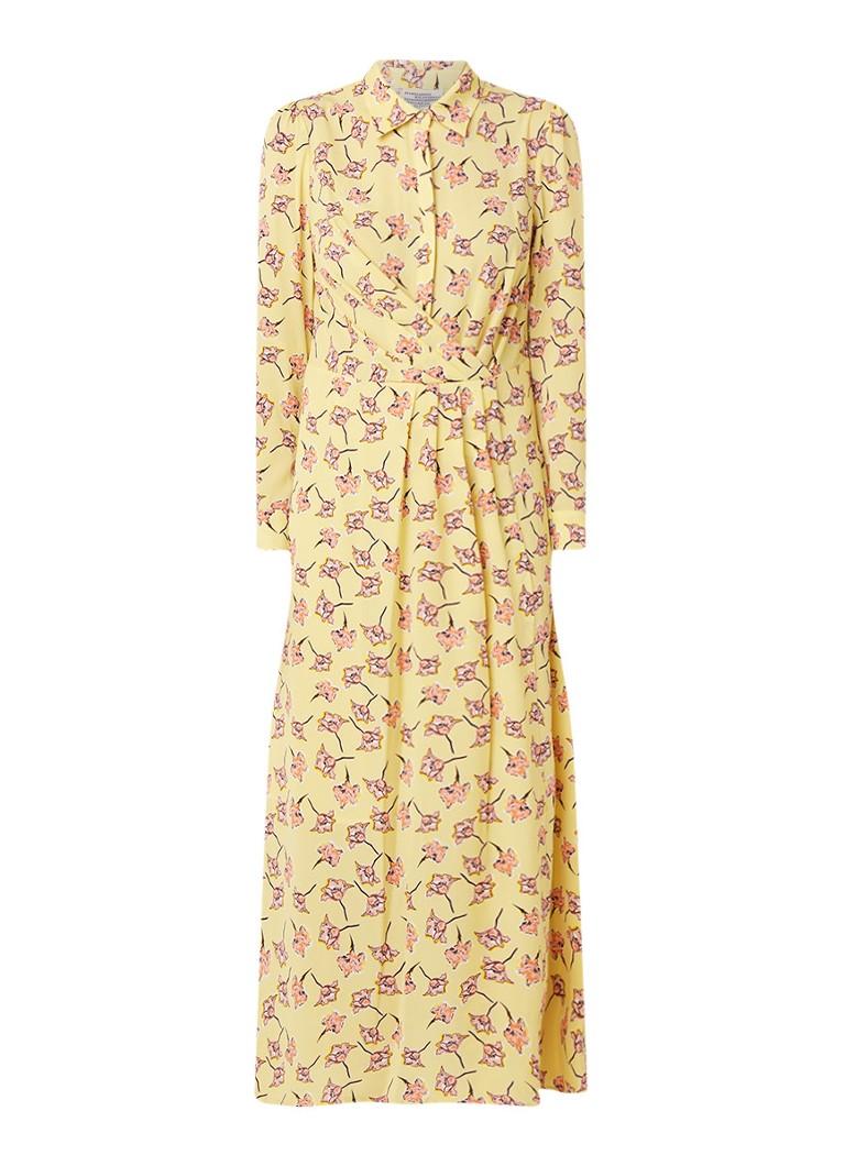 Baum und Pferdgarten Alham maxi blousejurk met bloemendessin lichtgeel