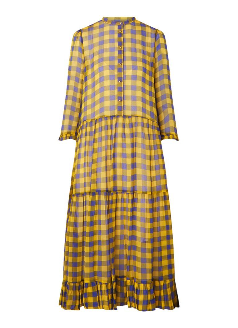 Baum und Pferdgarten Alexondra semi-transparante blouse-jurk met ruitdessin geel