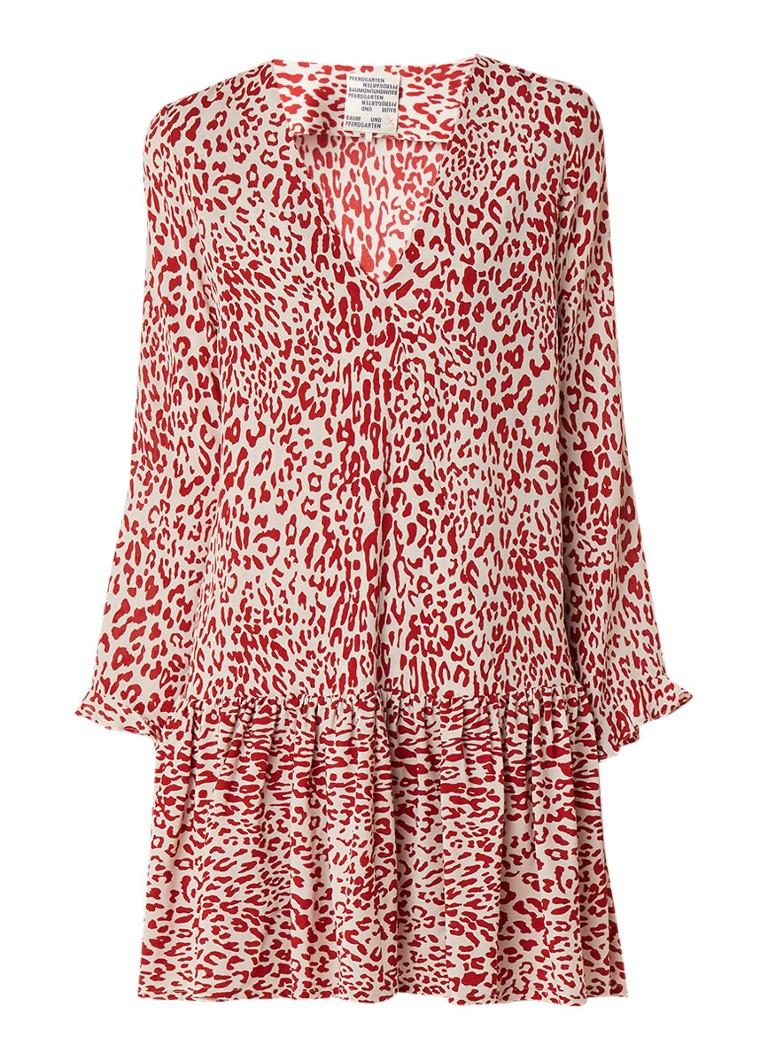 Baum und Pferdgarten Alda mini-jurk met luipaarddessin en volant donkerrood