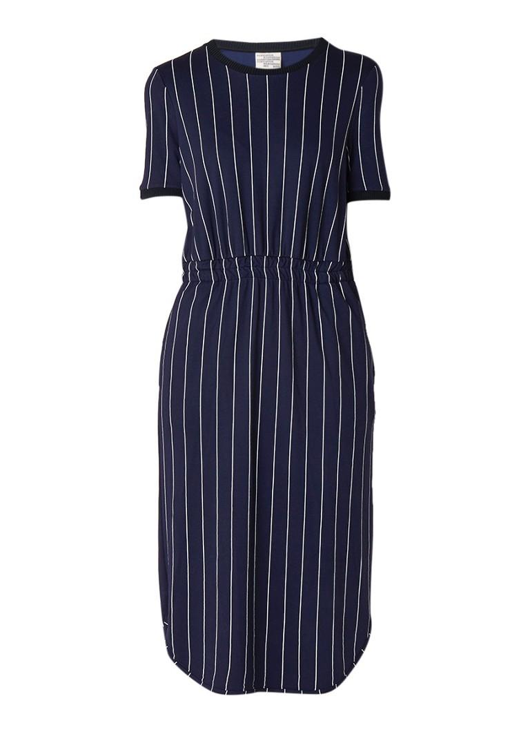 Baum und Pferdgarten June loose fit jurk met krijtstreep donkerblauw