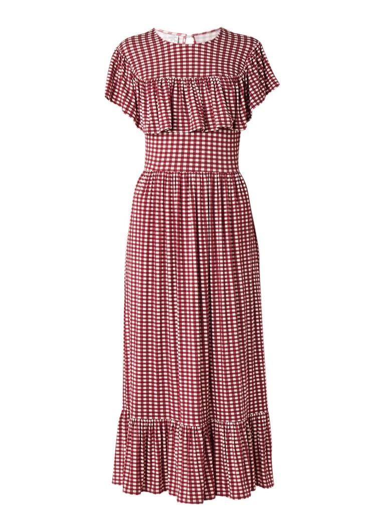 Baum und Pferdgarten Jannie maxi-jurk van jersey met gingham ruit bordeauxrood