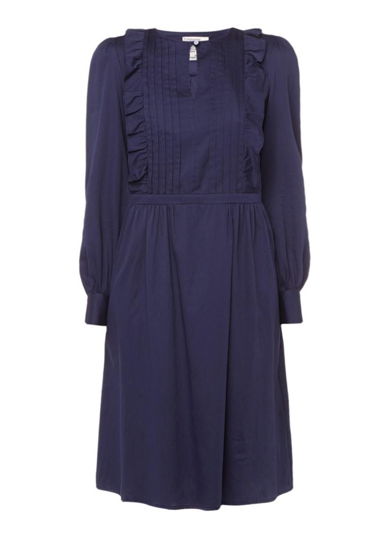 Baum und Pferdgarten Albantine geplooide jurk met ruches donkerblauw