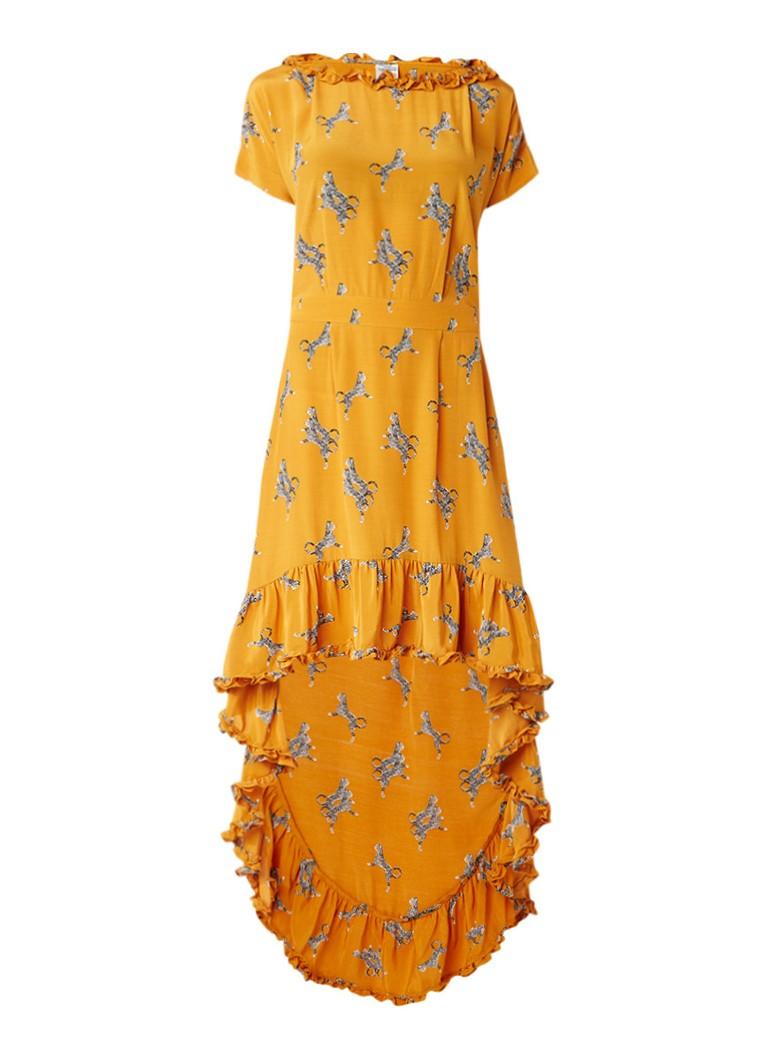 Baum und Pferdgarten Alvild maxi jurk van crêpe met all over dessin okergeel