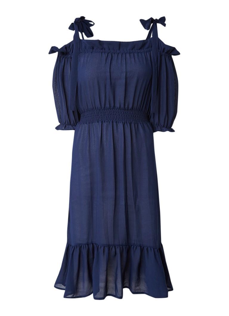 Baum und Pferdgarten Abril jurk met strikdetail en gesmockte taille blauw