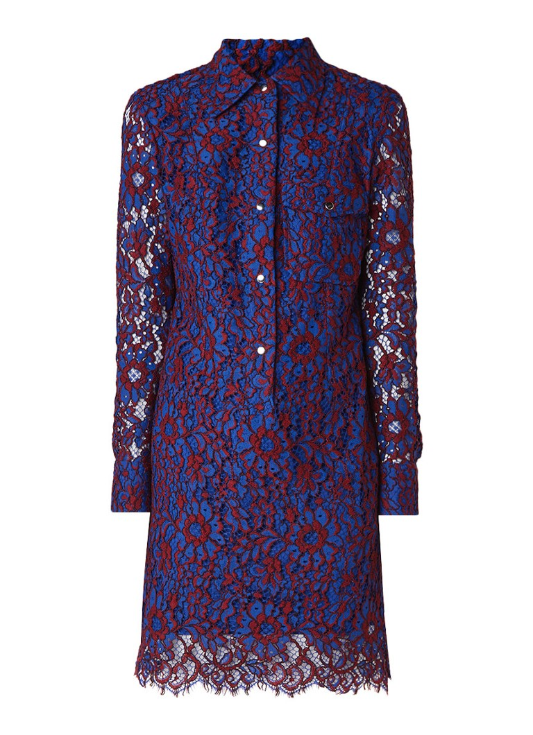 Calvin Klein Blousejurk van kant met borstzak kobaltblauw