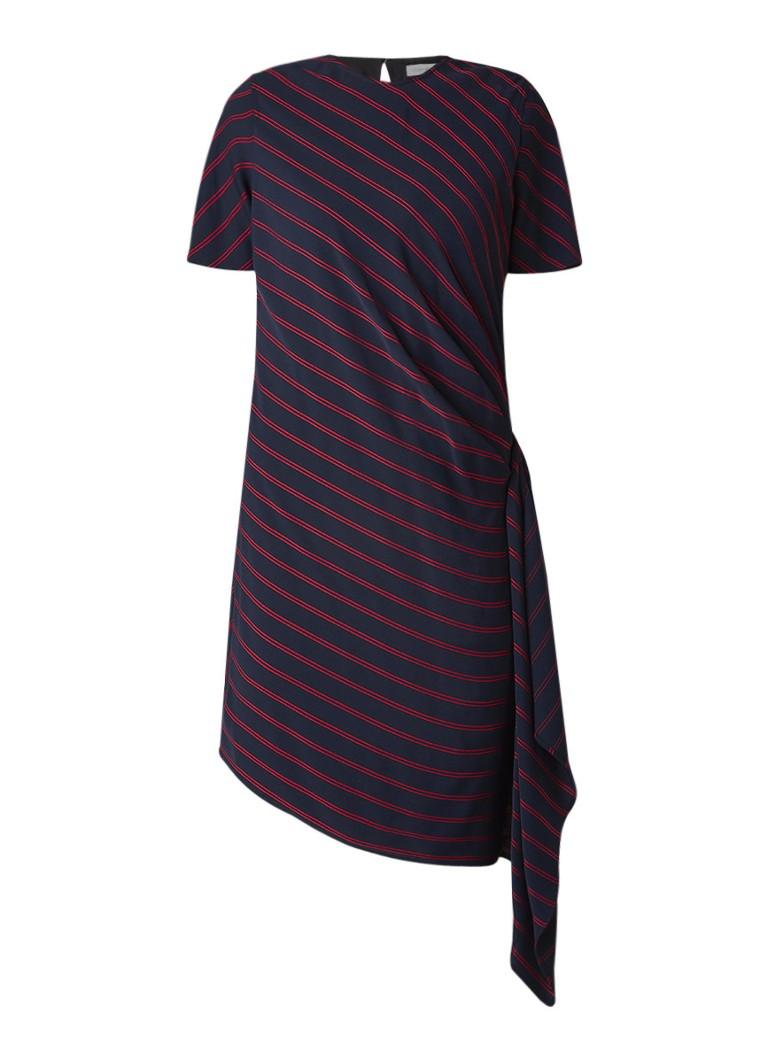 Calvin Klein Asymmetrische tuniekjurk met streepdessin en plooidetail donkerblauw