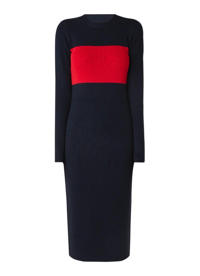 Calvin Klein Rib gebreide jurk in wolblend donkerblauw