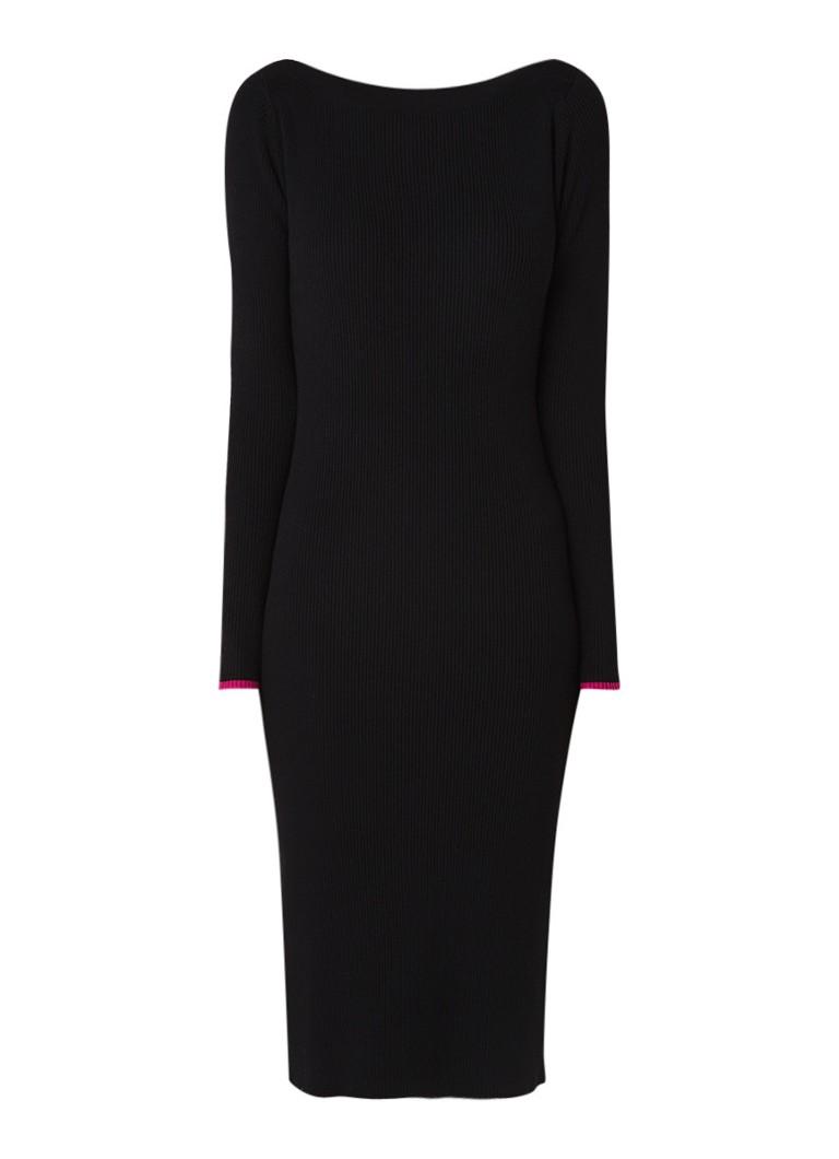 Calvin Klein Ribgebreide midi-jurk met boothals zwart