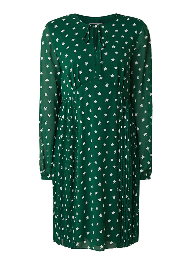 Calvin Klein Geplisseerde blousejurk met sterrendessin donkergroen
