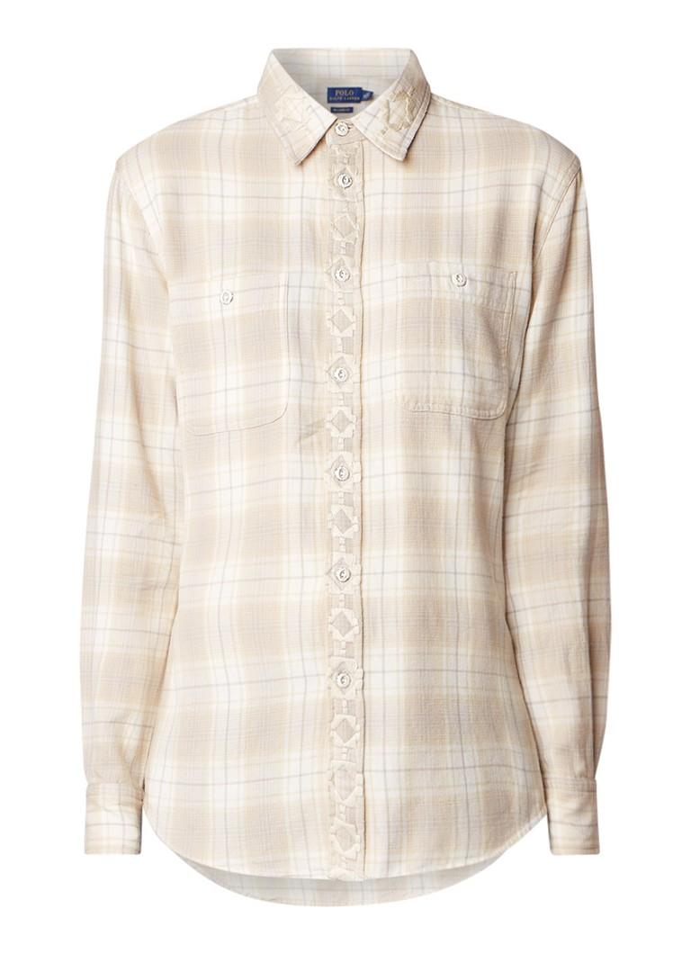 Ralph Lauren Relaxed fit blouse met geruit dessin en geborduurde details