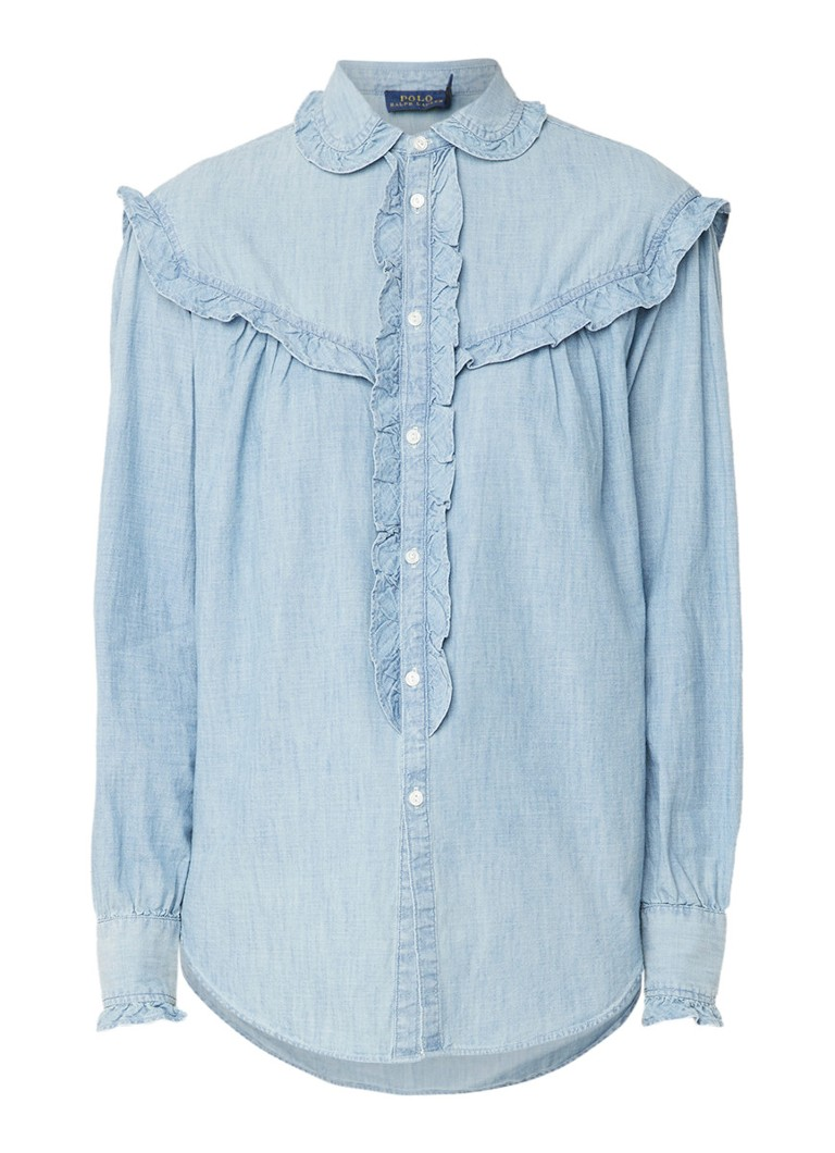 Ralph Lauren Blouse van denim met ruches