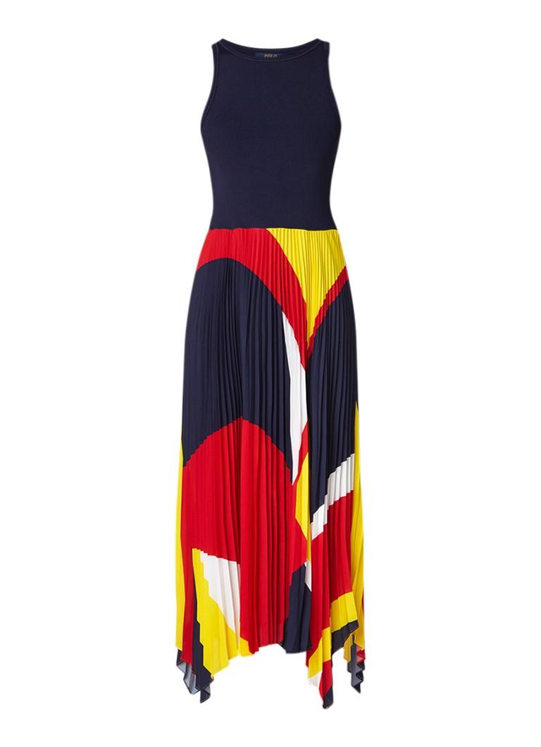 Ralph Lauren Mouwloze maxi-jurk met colour blocking donkerblauw