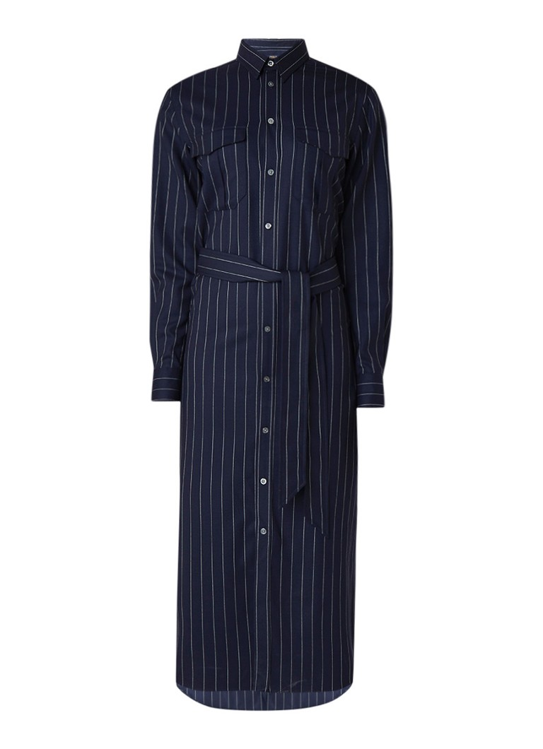 Ralph Lauren Blousejurk met krijtstreepdessin donkerblauw