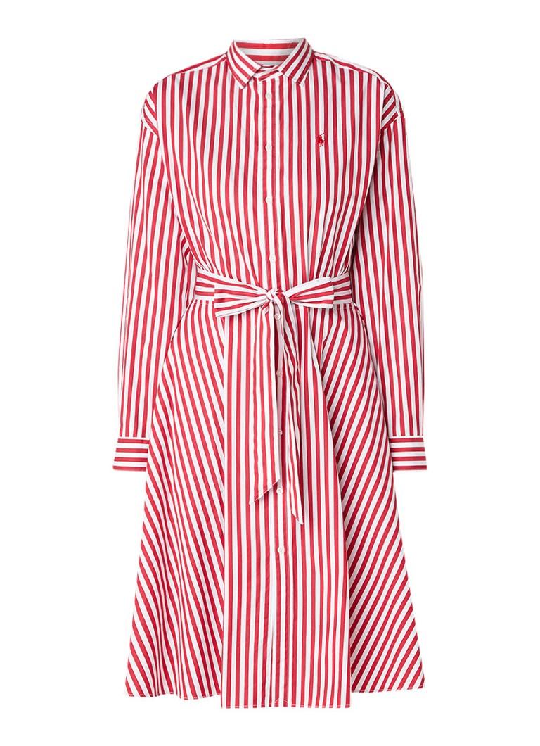 Ralph Lauren Ela blousejurk van katoen met streepdessin en strikceintuur lichtrood