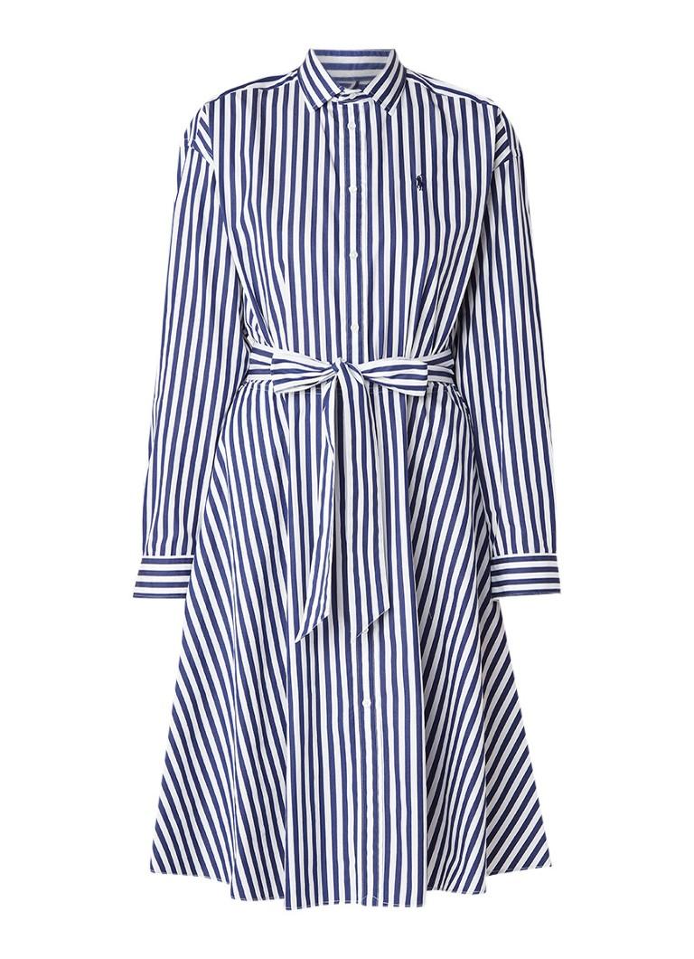 Ralph Lauren Ela blousejurk van katoen met streepdessin en strikceintuur blauw