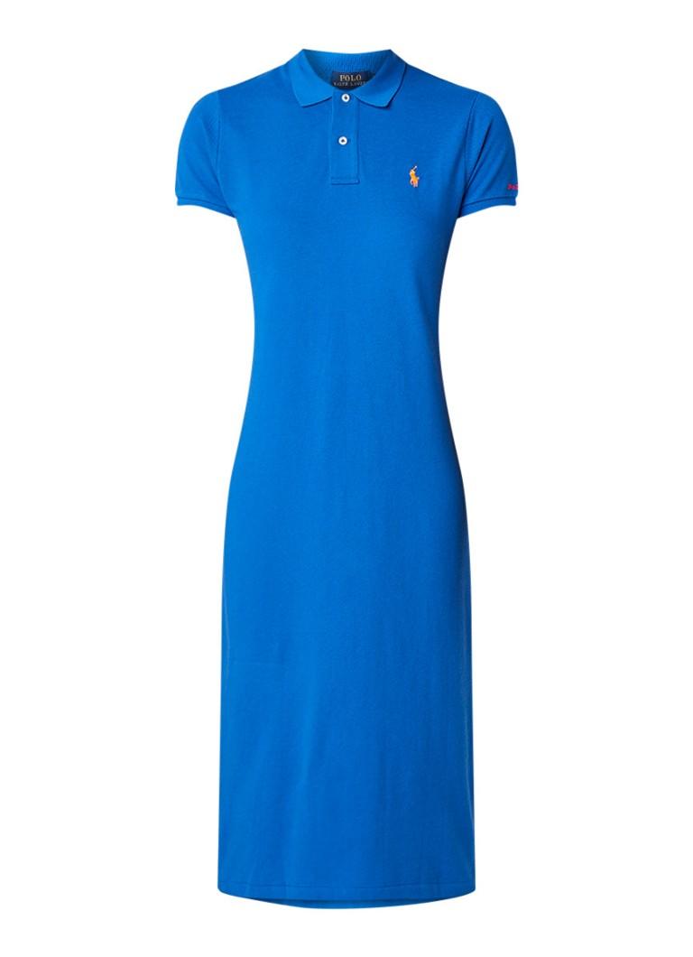 Ralph Lauren Polo jurk van piqué katoen met logoborduring blauw
