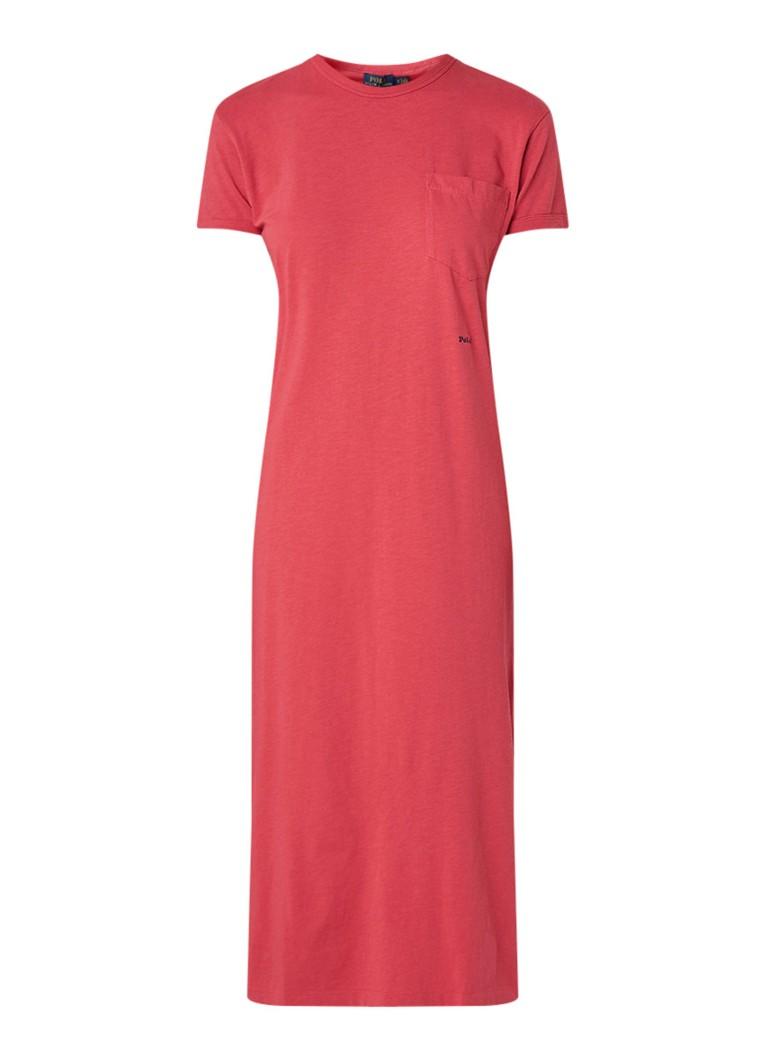 Ralph Lauren T-shirt jurk met borstzak steenrood