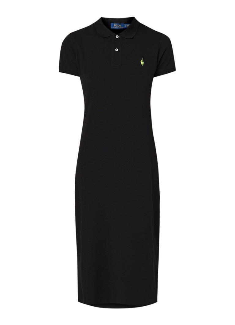 Ralph Lauren Polo jurk van piqué katoen met logoborduring zwart