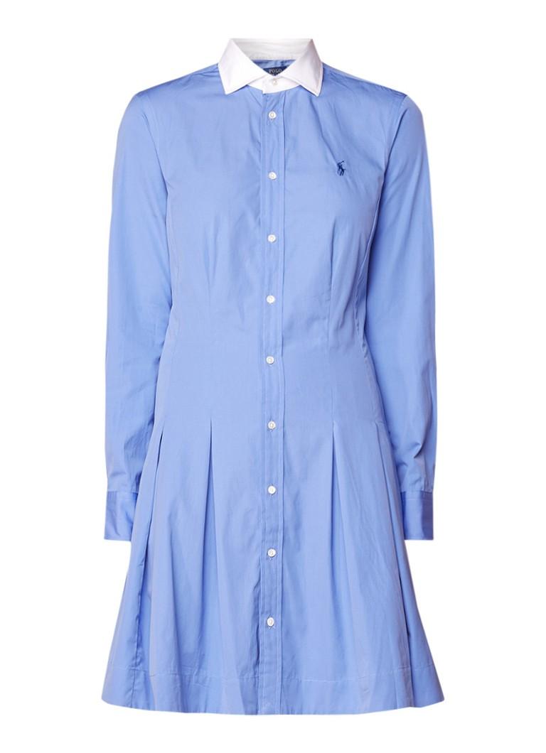 Ralph Lauren Blousejurk met plooien en contrasterende kraag blauw