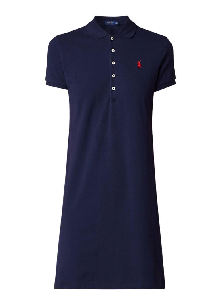 Ralph Lauren Midi-jurk van piqué katoen met polokraag donkerblauw