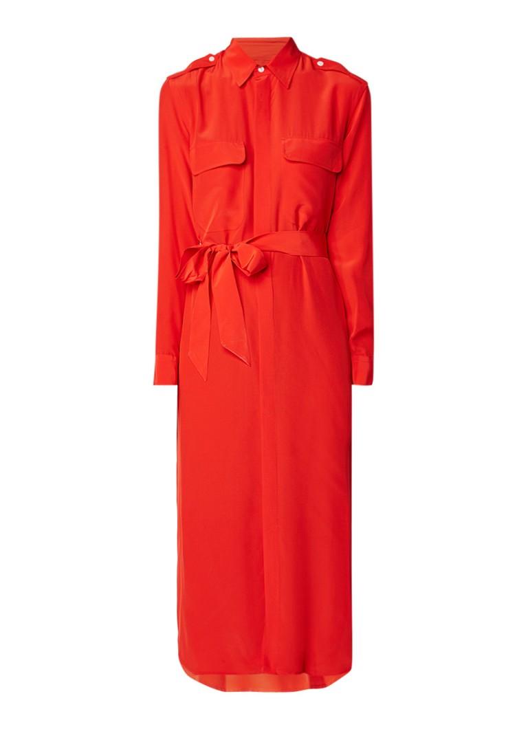 Ralph Lauren Maxi blousejurk met borstzak oranjerood
