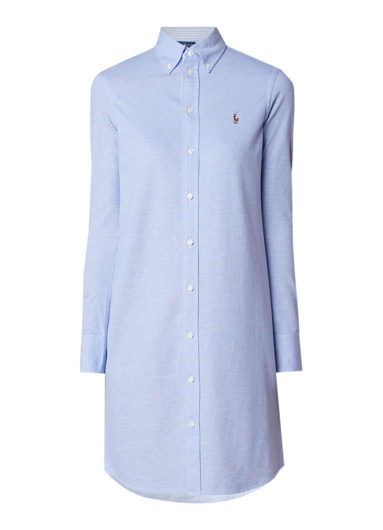 Ralph Lauren Button down blousejurk van piqué katoen lichtblauw