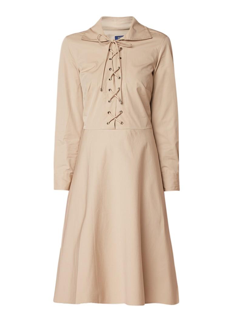 Ralph Lauren A-lijn jurk met rijgdetail beige