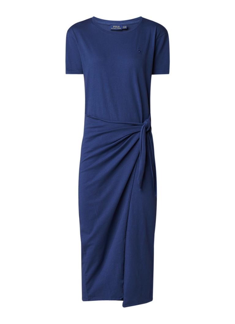 Ralph Lauren Jurk van jersey met overslag donkerblauw