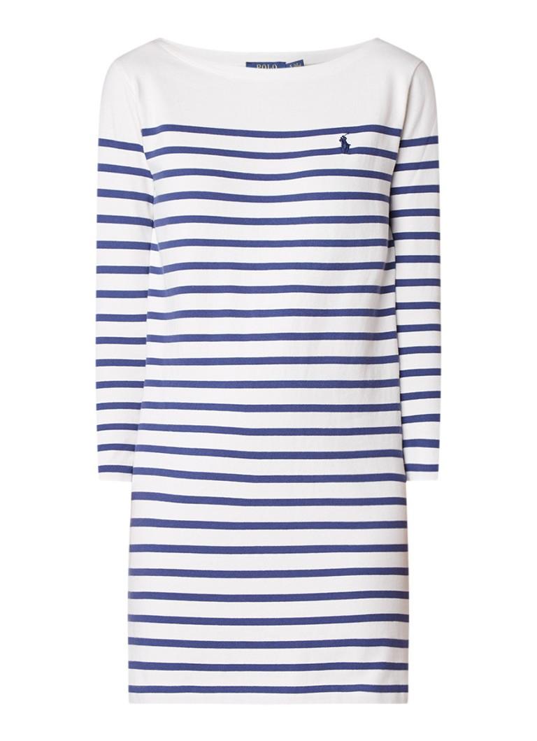 Ralph Lauren Jersey jurk met streepdessin donkerblauw