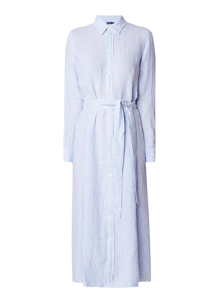 Ralph Lauren A-lijn maxi blousejurk van linnen met streepdessin blauw