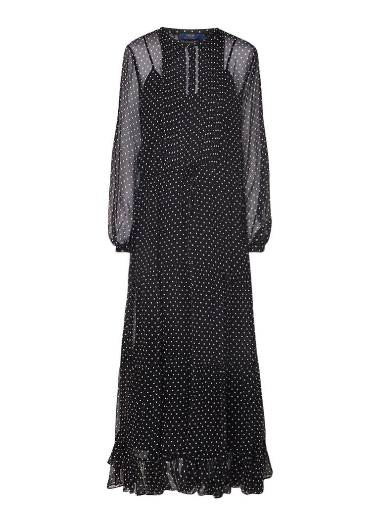 Ralph Lauren Maxi-jurk met tunnelkoord en stippendessin zwart