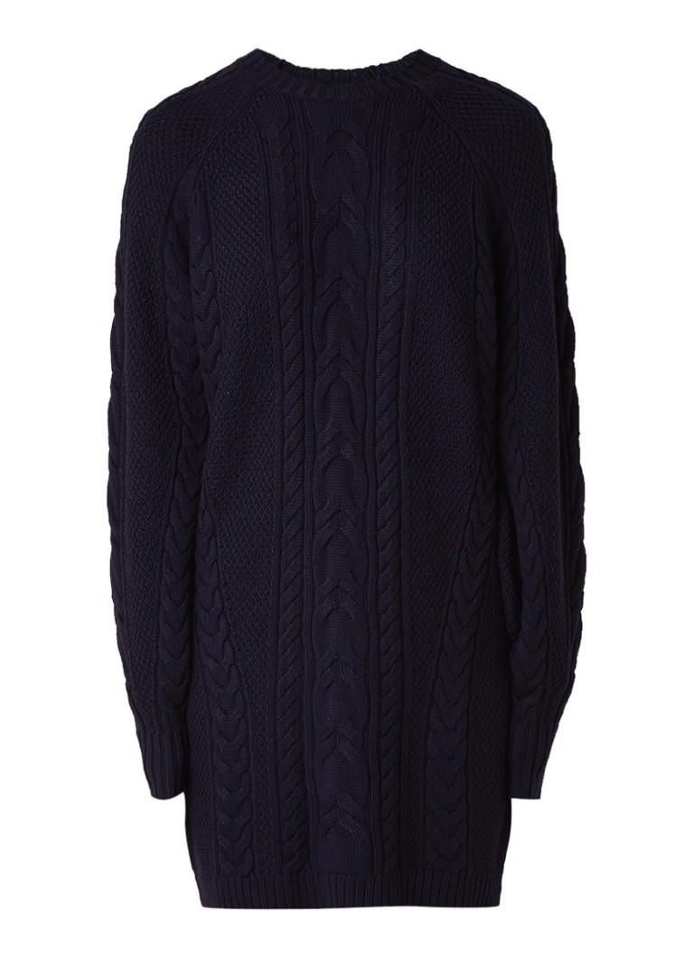Ralph Lauren Kabelgebreide trui-jurk van merinowol donkerblauw